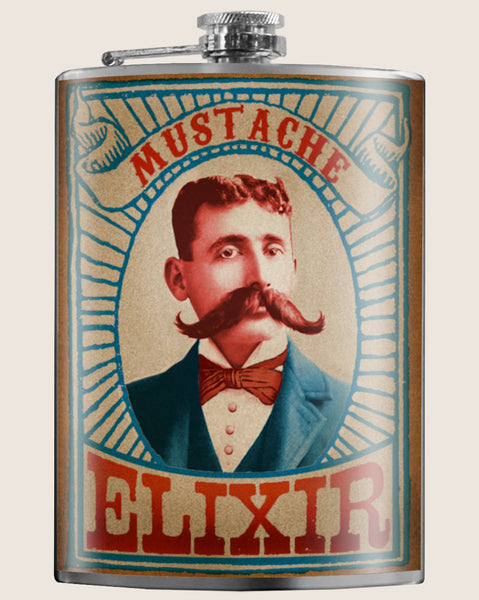 Mustache Elixir- Hip Flask Classic barware by Trixie & Milo. A perfect gift for men- creative barware idea, or bachelor party gift.