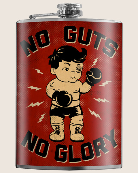 No Guts, No Glory- Hip Flask Classic barware by Trixie & Milo. Boxing baby. A perfect gift for men- creative barware idea, or bachelorette party gift.
