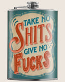 Take No Shits- Hip Flask Classic barware by Trixie & Milo. A perfect gift for men- creative barware idea, or bachelorette party gift.