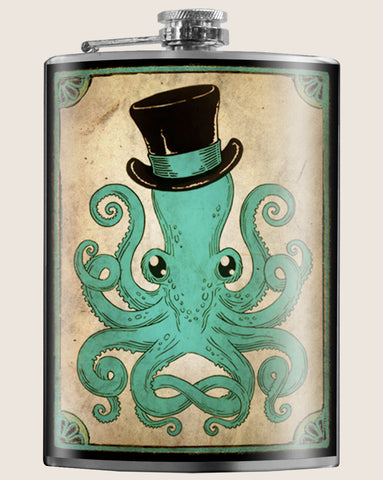 The GENTLEMAN OCTOPUS Flask is the coolest flask around. Great gifts for Men. Gifts for Her. Whether you're hiking, biking or on the way to Coachella, you need hydration? Get this creative barware flask from Trixie & Milo, and be prepared. Gifts for him. Moonshine, or Vodka, or any other Booze! Perfect for bachelorette parties, and wedding gifts!