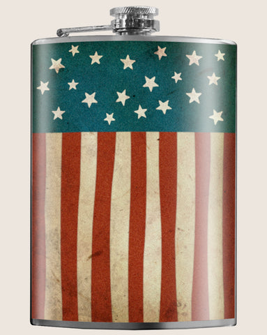 Old Glory- Hip Flask Classic barware by Trixie & Milo. A perfect gift for 4th of July- creative barware idea, or bachelorette party gift.