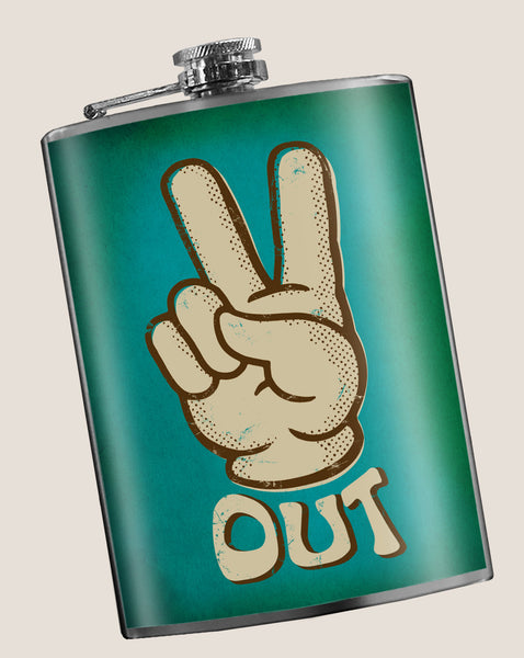 Peace Out - Funny, Groovy, 70s - 8oz Stainless Steel Flask - comes in a gift box - by Trixie & Milo