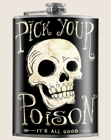 Pick your Poison (skull)- Hip Flask Classic barware by Trixie & Milo. A perfect gift for men- creative barware idea, or bachelorette party gift.