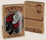 Road to Hell (biker)- Hip Flask Classic barware by Trixie & Milo. A perfect gift for men- creative barware idea, or bachelor party gift.
