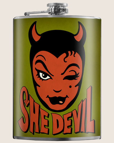 She Devil- Hip Flask Classic barware by Trixie & Milo. A perfect gift for men- creative barware idea, or bachelorette party gift.