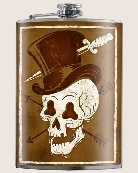 Skull Hat- Hip Flask Classic barware by Trixie & Milo. A perfect gift for men- creative barware idea, or bachelorette party gift.