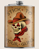 Stick to your Guns- Hip Flask Classic barware by Trixie & Milo. Cowboy Skull. A perfect gift for men- creative barware idea, or bachelorette party gift.