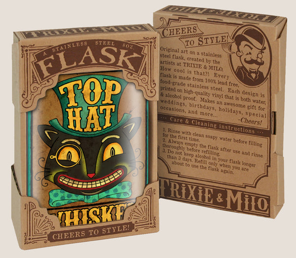 Top Hat Whiskey- Hip Flask Classic barware by Trixie & Milo. Cat lover. A perfect gift for men- creative barware idea, or bachelorette party gift.