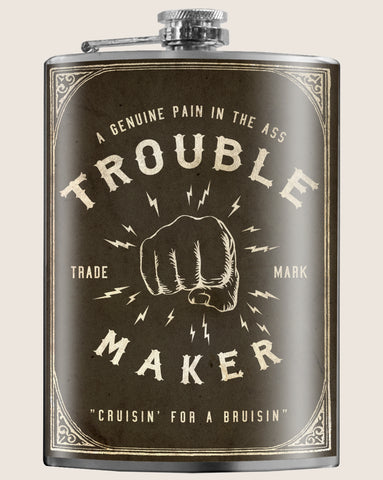 Trouble Maker- Hip Flask Classic barware by Trixie & Milo. Boxing gift. A perfect gift for men- creative barware idea, or bachelorette party gift.