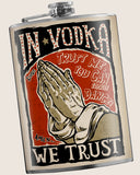 In Vodka We Trust- Hip Flask Classic barware by Trixie & Milo. A perfect gift for vodka lovers- creative barware idea, or bachelorette party gift.