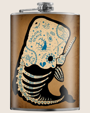 Tattooed Whale- Hip Flask Classic barware by Trixie & Milo. Vintage sailor tattoo. A perfect gift for men- creative barware idea, or bachelorette party gift.