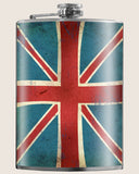 Union Jack (British flag)- Hip Flask Classic barware by Trixie & Milo. A perfect gift for expats- creative barware idea, or bachelorette party gift.