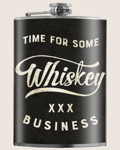Whiskey Business- Hip Flask Classic barware by Trixie & Milo. A perfect gift for men- creative barware idea, or bachelorette party gift.