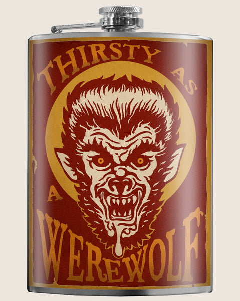 Werewolf- Hip Flask Classic barware by Trixie & Milo. Halloween idea. A perfect gift for men- creative barware idea, or bachelorette party gift.