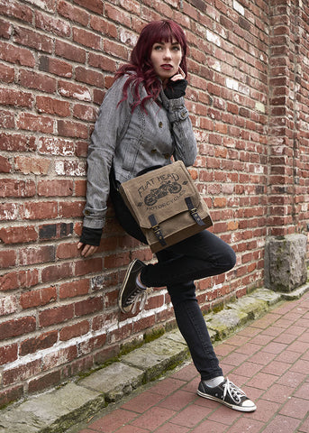 Vintage Field Bag - Flat Head Motorcycle