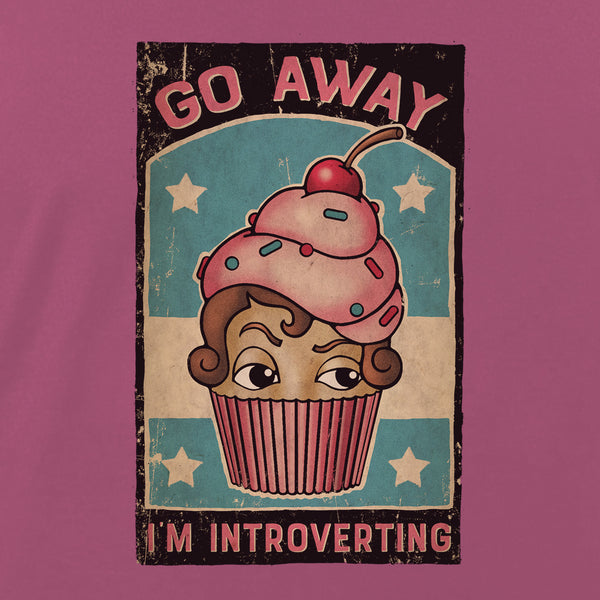 Go Away - I'm Introverting by LCKY JACK. Unisex tee, cupcake shirt, cute t shirt, tattoo style shirt, vintage comic, distressed, silly, funny t shirt