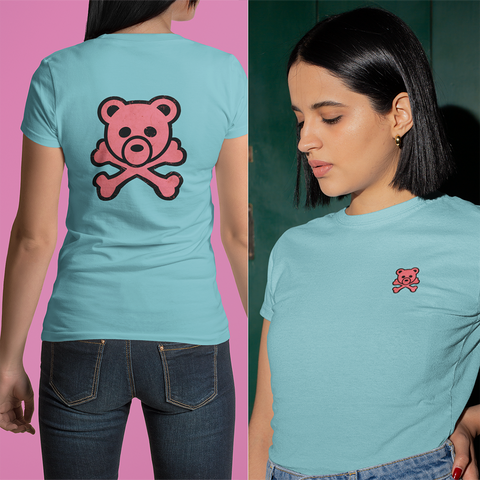 Hoochie Bear by LCKY JACK - Unisex T shirt, sassy shirt, cute tee, pink bear, girlie pirate, skull and bones, girls style tee