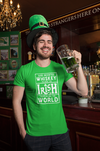 God Invented WHISKEY To Keep The IRISH From Ruling The World - Heavy Cotton Tee by Trixie & Milo, St. Patrick's Day tee, funny drinking