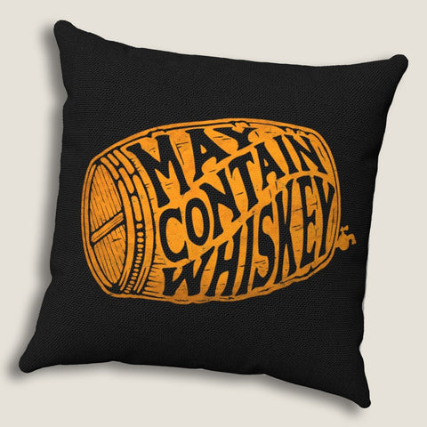 "May Contain Whiskey - Throw Pillow by LCKY JACK, 14""x14"" or 20""x20"", whiskey lover's pillow, scotch, bourbon lover pillow"