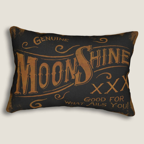"Genuine Moonshine- 14""x20"" Lumbar Pillow by LCKY JACK - Cocktail pillow, Whiskey lover pillow, Bar pillow"