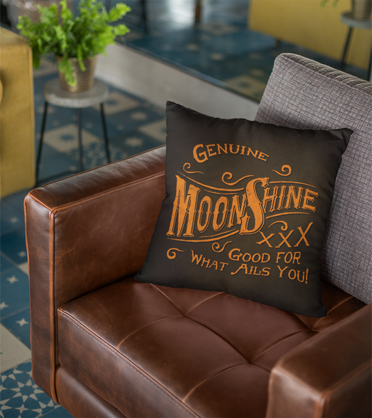 "Moonshine - Throw Pillow by LCKY JACK - 14""x14"", man-cave pillow, leather sofa accent, vintage style printed pillow"
