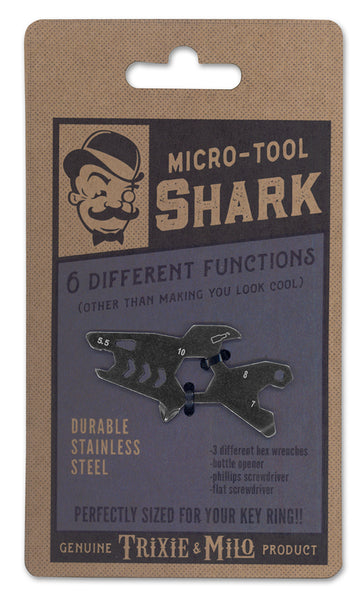 Key chain Shark tool - Micro tool by Trixie & Milo. Tools for key ring, great gifts for him