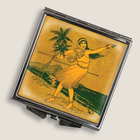 Hula Girl - Square Mirror Compact