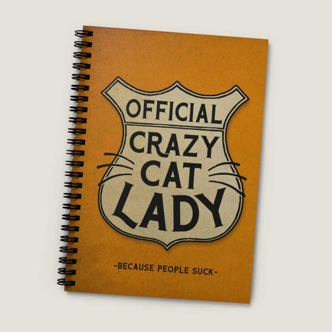 Official Crazy Cat Lady - spiral notebook - Ruled Line, vintage style graphic, funny, nerdy girl, cat lover gift, back to school supply