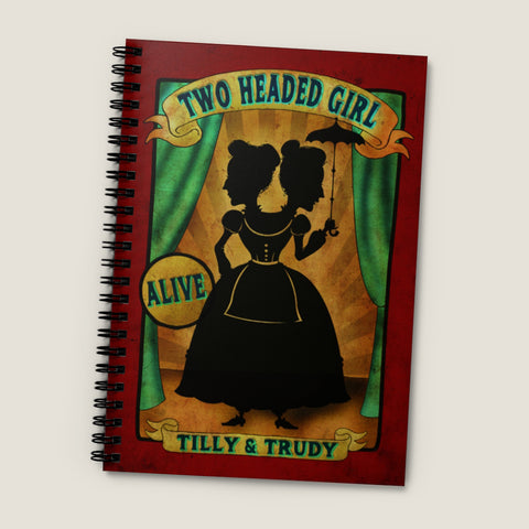 Side Show Banner 2 HEADED WOMAN. Spiral Notebook - Silhouette design, Carnival banner, vintage oddities, circus sign