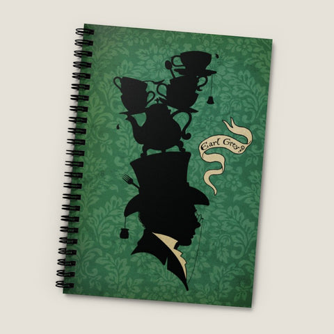 TEA LOVER #1 (Gentleman). Spiral Notebook - Ruled Line, vintage style graphic, fantasy silhouette, Earl Grey drinker, top hat gentleman