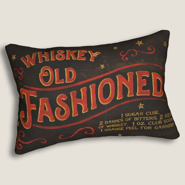 "Whiskey Old Fashioned - 14""x20"" Lumbar Pillow by LCKY JACK - Cocktail pillow, Whiskey lover pillow, Bar pillow"
