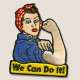 "Trixie & Milo We Can Do It"" WW2 Rosie the Riveter - Iron-on patch, embroidered"