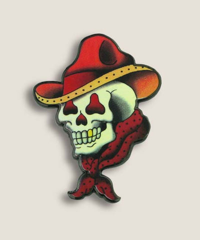 "The ""Cowboy Skull"" is a very cool, classic tattoo design as an enamel pin! Trixie & Milo Enamel Pins - make for fun and trendy gifts. Perfect for your backpack, jean-jacket, or lapel. Original designs that you cannot find anywhere else!"