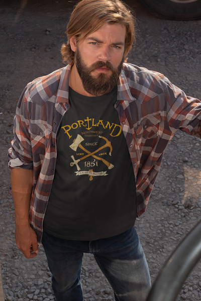 PORTLAND - LCKY JACK - T shirt (unisex) black tee shirt retro style axe anchor Pacific North West classic Trixie and Milo by Lucky Jack