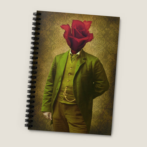 Rose Man Victorian fantasy photo. Spiral Notebook - Ruled Line, vintage style graphic, flower gentleman, hand painted antique photo