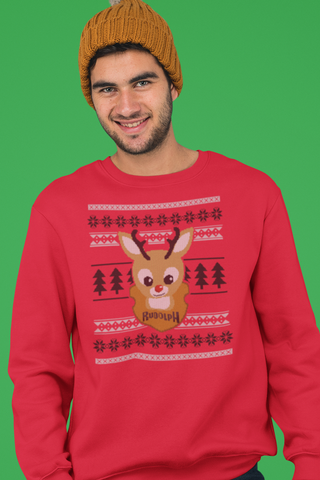 Rudolph on the Wall funny Christmas  sweater - Crewneck Sweatshirt - Ugly sweater, silly holiday sweater, Christmas party sweater