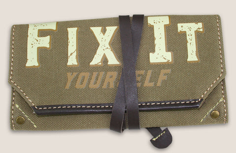 FIX IT YOURSELF - canvas pouch w/leather strap