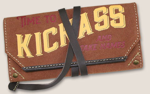 TIME TO KICKASS - canvas pouch w/leather strap