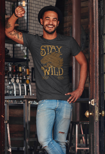 Stay Wild - LCKY JACK - Heavy Cotton Tee Shirt wolf head motorcycle Trixie and Milo