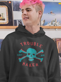 Trouble Maker - by LCKY JACK (for Trixie & Milo) - Hoodie, Vintage skull and bones design, gift for him