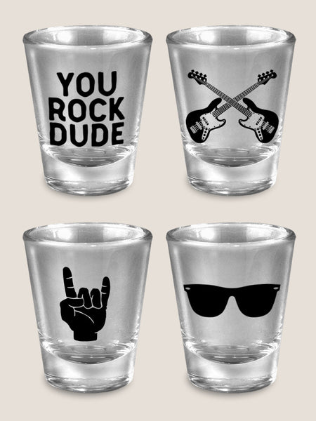 You Rock Dude - Set of 4 - Shot Glass Gift Set