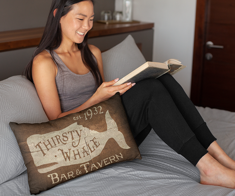 "Thirsty Whale Tavern - 14""x20"" Lumbar Pillow by LCKY JACK - Cocktail pillow, Whiskey lover pillow, Bar pillow"