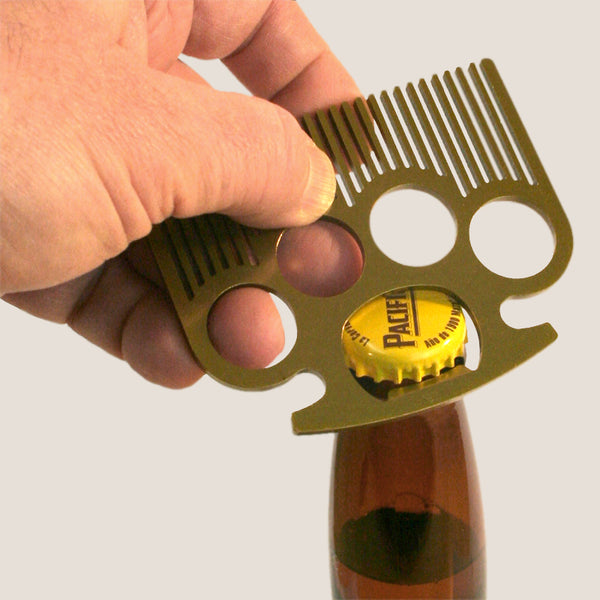 The Brass Knuckle Comb by Trixie & Milo. MenÕs Gift Bottle Opener, Badass gift for men.