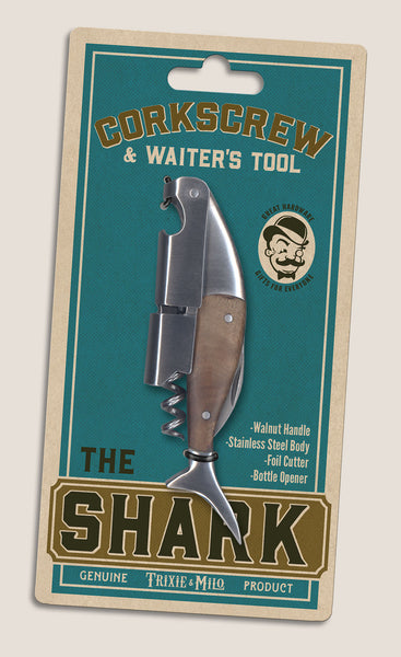 The Shark Corkscrew & Waiter's tool by Trixie & Milo. A classy tool, and wine gift