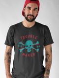 Trouble Maker 3D - LCKY JACK - T shirt (unisex) blue red skull and bones, funny shirt, pirate shirt, biker shirt, mens style, cool t shirt, sarcastic tee
