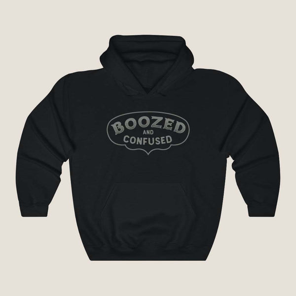 Boozed and Confused - Trixie & Milo - Black Hoodie, retro style, funny drinking, college style, for Men and Women