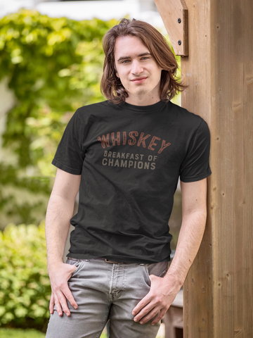 WHISKEY Breakfast of Champions - Trixie & Milo - Black tee shirt, retro style shirt, funny drinking shirt, college style