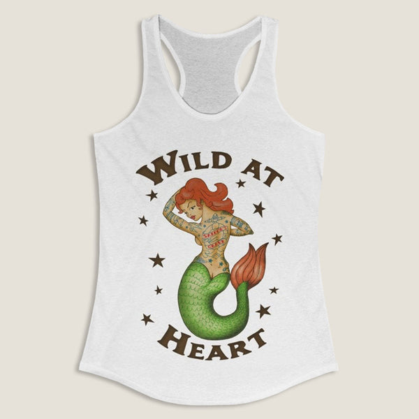 Wild at Heart - by LCKY JACK - Women's Racerback Tank, Tattooed Mermaid, Fun shirt, Rocker tee, Sexy Redhead tee,  Pinup tee, Retro Pin up Girl Tee Shirt