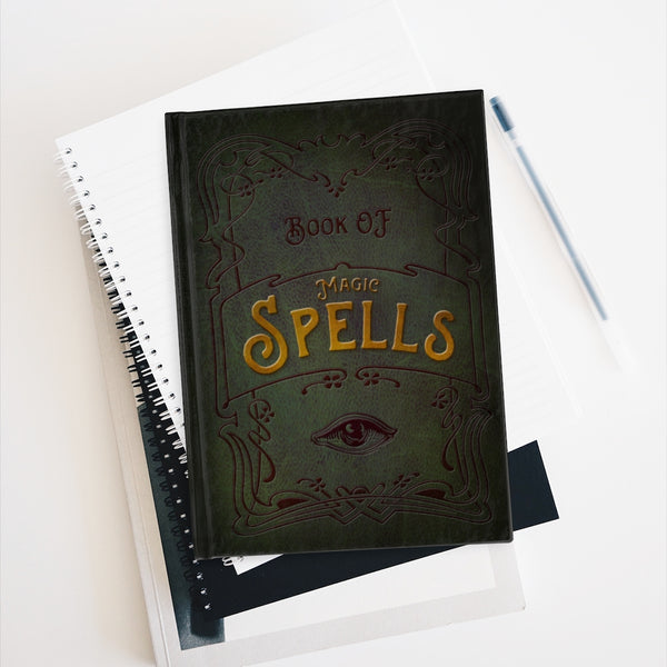 The Book of Spells Journal - Blank pages by LCKY JACK, faux leather style journal, fun notebook, magic book