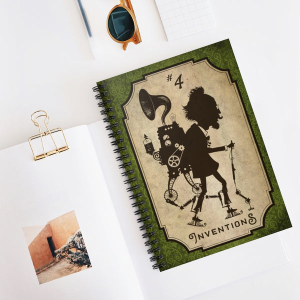 Inventions #4, the Perambulator by LCKY JACK. Spiral Notebook - vintage steampunk, steampunk notebook, cosplay, Victorian inventor, back to school notebook